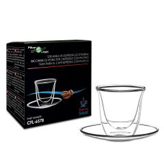 FilterLogic CFL-657B Espresso Glass and Saucer Double Wall Thermoshield Set