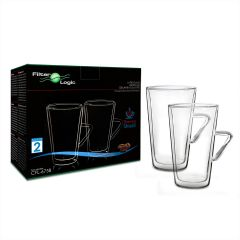 FilterLogic CFL-675B LATTE Thermoshield Double Wall Coffee Glasses (Twin Pack)