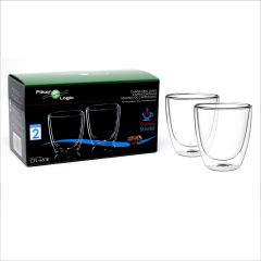 FilterLogic CFL-660B Double Wall Cappuccino Glasses(Twin Pack)